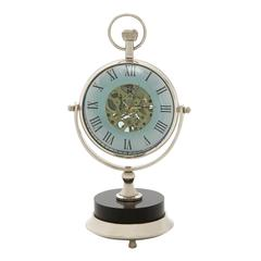 Benzara Exquisite Brass Nickel Table Clock