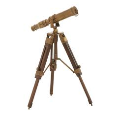 Benzara Timeless Brass Wood Telescope