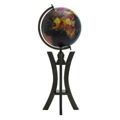 Prestigious Wood Metal Globe With Black Ocean