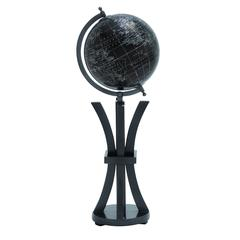 Benzara Elegant Wood Metal Globe In Black With White Markings
