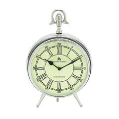 Benzara Bond Street Clock In Silver Finish