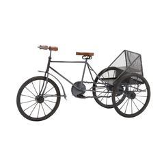 Benzara The Cute Metal Wood Tricycle Blue