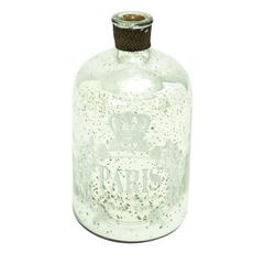"Glass And Metal 12"" Bottle For Modern Decor With Striking Design"