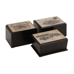 Benzara The Royal Wood Label Box 3 Assorted