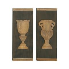Vintage Styled Wood Wall Panel Set Of 2