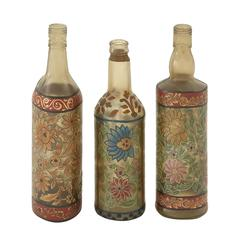Benzara Classy Set Of 3 Glass Painted Bottle
