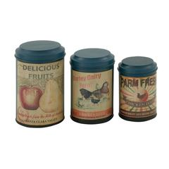 Durable Set Of Three Metal Canisters