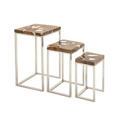 Benzara Superior Beauty Stainless Steel Teak Nst Table Set Of 3