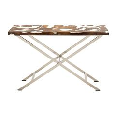 Distinctive Stainless Steel Teak Console Table