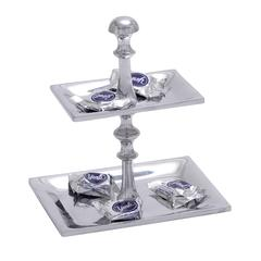 Artistic Designed Aluminum Candy Tray With Two Tier Pedestal