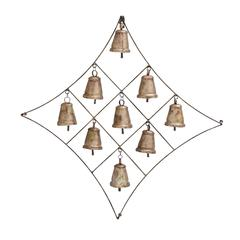 Benzara Traditional Metal Bell Plaque In Modern Look With 9 Bells