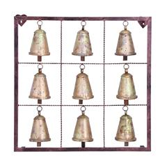 Metal Bell Square Wall Plaque With 9 Bells And Rustic Look