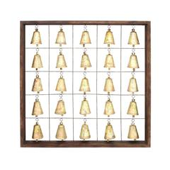 Benzara Classic Wooden Metal Bell Frame With Twenty Five Bells In A Simple Square Shaped Wooden Frame