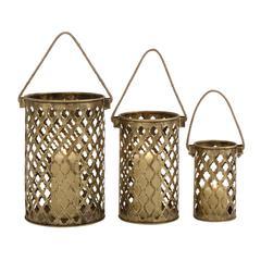 Benzara Set Of Three Antique Metal Lantern Candle Holders