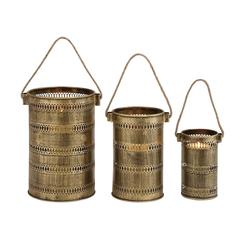 Antique Set Of Three Metal Lantern Candle Holders