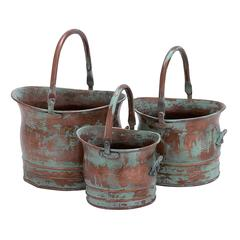 Benzara Contemporary Metal Planter With Rustic Style In Green - Set Of 3