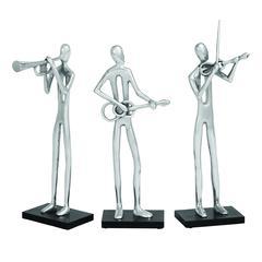 Benzara Modern Assorted Aluminum 3 Different Musician - Set Of 3