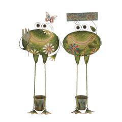 Benzara Creative Styled Standing Metal Frog Planter 2 Assorted
