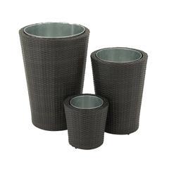 Benzara Enthralling Set Of Three Metal Pe Rattan Planter