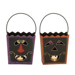 Benzara Innovative Metal Halloween Basket 2 Assorted
