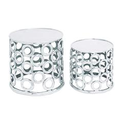 Set Of 2 Aluminium Stool With Metallic Finish