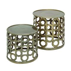 Benzara Set Of Two Cylindrical Shaped Metal Stools In Contemporary Style