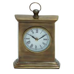 Benzara Pillar Shaped Wooden Table Clock In Walnut