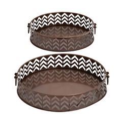 Benzara Stylish And Rusty Round Shaped Set Of 2 Trays