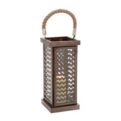 Benzara Well Designed Attractive Metal Glass Lantern