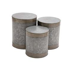 Benzara The Impressive Set Of 3 Metal Galvanized Stool