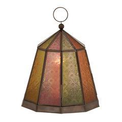 Benzara Cool And Colorful Metal Glass Lantern