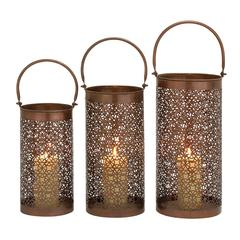 Aluminum Candle Lantern Set Of 3