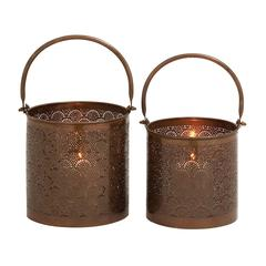 Stunning Metal Candle Lantern Set Of 2