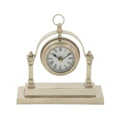 Benzara Gleaming Aluminum Table Clock
