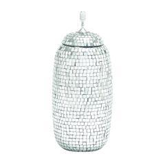 Benzara Stunningly Styled Metal Mirror Mosaic Jar