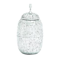 Benzara Traditional Hand Crafted Metal Mirror Mosaic Jar