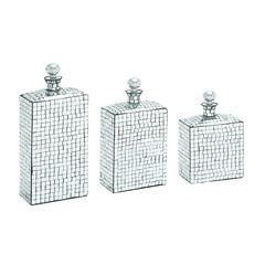 Benzara Metal Mosaic Mirror Bottle With Stopper Set Of Three