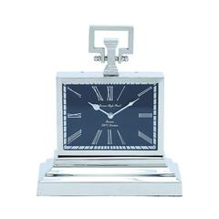 Nickel Plated Table Clock With Three Tier Base