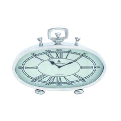 Nickel Plated Table Clock With Roman Numerals