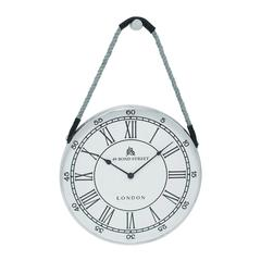 Metal Hanging Wall Clock With Attached Rope Fitted With Leather Straps (Large)
