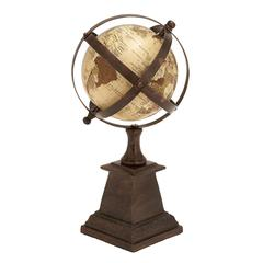 "Benzara Aluminum Globe 12""H, 6""W Nautical Maritime Decor"