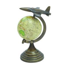 Benzara Globe With Sturdy Round Base & Aircraft On Top