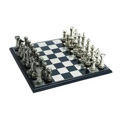 Benzara Sleek And Attractive Chess Set With Polish Aluminum Pieces And Stainless Steel Plated Wooden Board