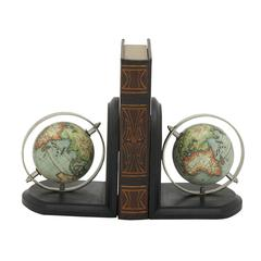 "Wood Metal Bookend Pair 6""W, 7""H"