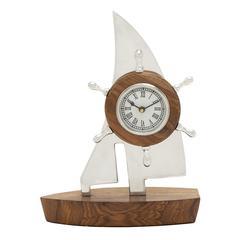 Benzara Beautiful Aluminum Wood Boat Clock