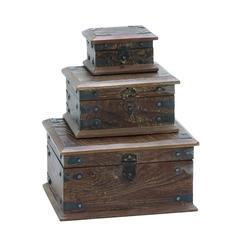 Wooden Modern Reclaimed Box With Storage Space (Set Of 3)