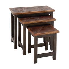 Benzara The Amazing Set Of 3 Wood Nesting Table