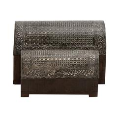 The Stunning Set Of 2 Wood Metal Foil Box
