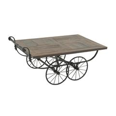 "Benzara Wheeled Wood Metal Cart Coffee Table 47""W, 22""H"