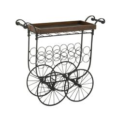 Benzara Striking Metal Wood Village Bar Cart